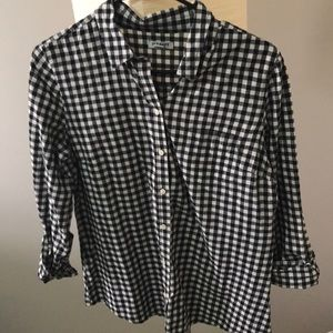Black plaid and white shirt